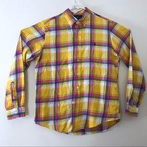 Ralph Lauren Yellow Pink Plaid Lightweight Flannel